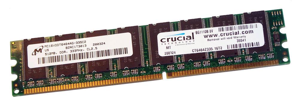 Crucial CT6464Z335.16T2 (512MB DDR PC2700U 333MHz DIMM 184-pin) 16C RAM 335C2